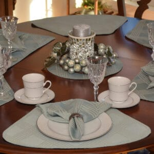 Sweet Pea Linens - Light Blue/Green Lattice Jacquard Wedge-Shaped Placemats - Set of Two (SKU#: RS2-1006-L23) - Table Setting
