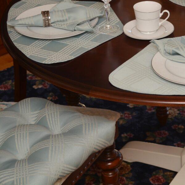 Sweet Pea Linens - Light Blue/Green Lattice Jacquard Chair Cushion Pads - Set of Two (SKU#: RS2-1014-L23) - Table Setting