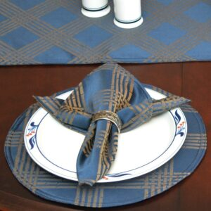 Sweet Pea Linens - Dark Blue Lattice Jacquard Charger-Center Round Placemat (SKU#: R-1015-L24) - Table Setting