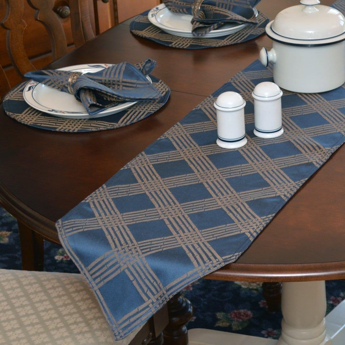 Sweet Pea Linens - Dark Blue Lattice Jacquard 72 inch Table Runner (SKU#: R-1024-L24) - Table Setting