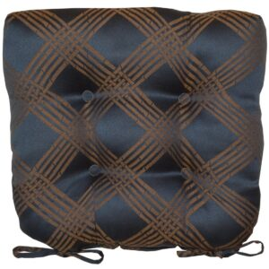 Sweet Pea Linens - Dark Blue Lattice Jacquard Chair Cushion Pads - Set of Two (SKU#: RS2-1014-L24) - Product Image