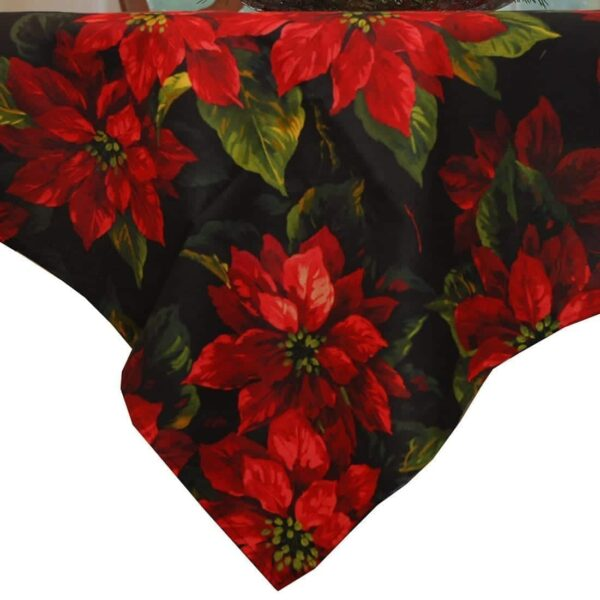 Sweet Pea Linens - Red Poinsettia on Black Holiday Print 42 inch Square Table Cloth (SKU#: R-1008-L93) - Product Image