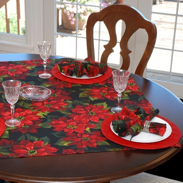 Sweet Pea Linens - Red Poinsettia on Black Holiday Print 42 inch Square Table Cloth (SKU#: R-1008-L93) - Table Setting