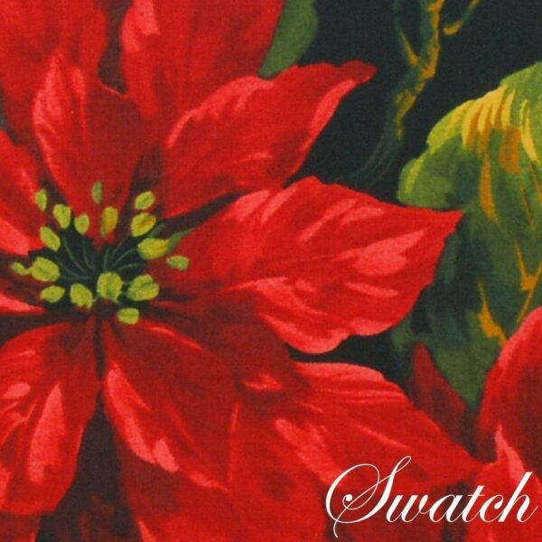 Sweet Pea Linens - Red Poinsettia on Black Holiday Print 42 inch Square Table Cloth (SKU#: R-1008-L93) - Swatch