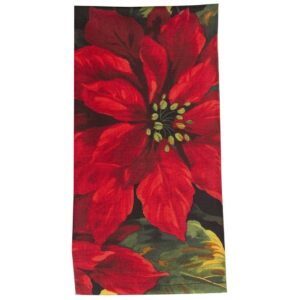 Sweet Pea Linens - Red Poinsettia on Black Holiday Print Cloth Napkin (SKU#: R-1010-L93) - Product Image