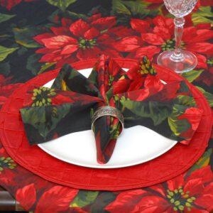 Sweet Pea Linens - Red Poinsettia on Black Holiday Print Cloth Napkin (SKU#: R-1010-L93) - Table Setting