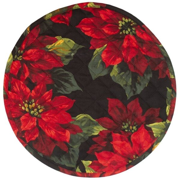 Sweet Pea Linens - Red Poinsettia on Black Quilted Holiday Print Charger-Center Round Placemat (SKU#: R-1015-L92) - Product Image
