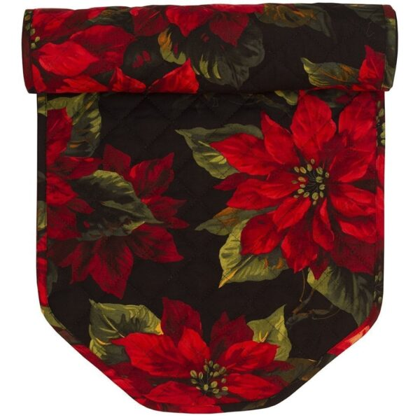 Sweet Pea Linens - Red Poinsettia on Black Quilted Holiday Print 60 inch Table Runner (SKU#: R-1021-L92) - Product Image
