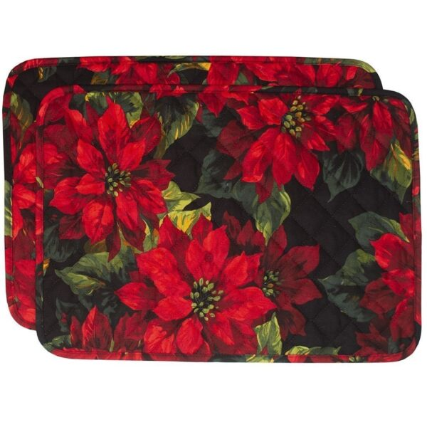 Sweet Pea Linens - Red Poinsettia on Black Quilted Holiday Print Rectangle Placemats - Set of Two (SKU#: RS2-1001-L92) - Product Image