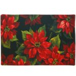 Sweet Pea Linens - Poinsettia on Black Holiday Print Rectangle Placemats - Set of Two (NOT Quilted) (SKU#: RS2-1002-L9) - Product Image