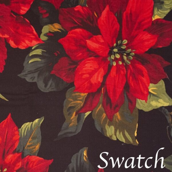 Sweet Pea Linens - Poinsettia on Black Holiday Print Rectangle Placemats - Set of Two (NOT Quilted) (SKU#: RS2-1002-L9) - Swatch