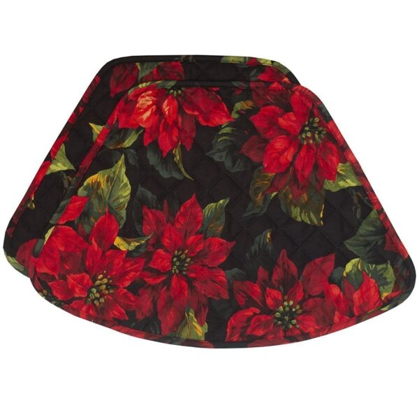 Sweet Pea Linens - Red Poinsettia on Black Quilted Holiday Print Wedge-Shaped Placemats - Set of Two (SKU#: RS2-1006-L92) - Product Image