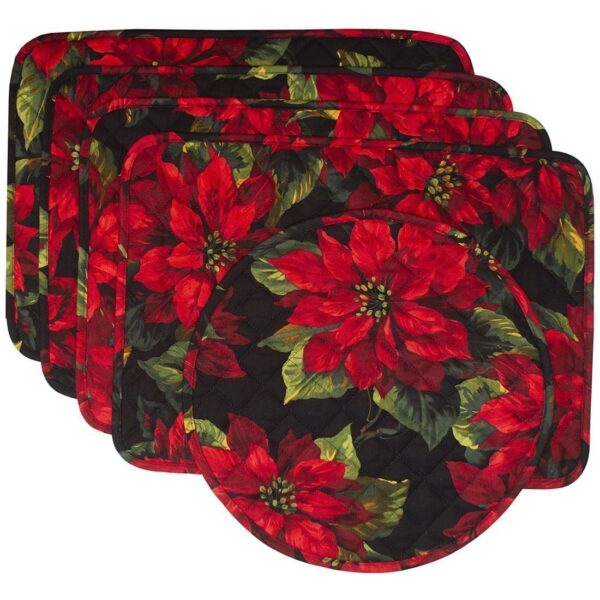Sweet Pea Linens - Red Poinsettia on Black Quilted Holiday Print Rectangle Placemats - Set of Four plus Center Round-Charger (SKU#: RS5-1001-L92) - Product Image