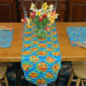 Sweet Pea Linens - Yellow-Blue Tropical Print Floral Print 54 inch Table Runner (SKU#: R-1020-M6) - Table Setting