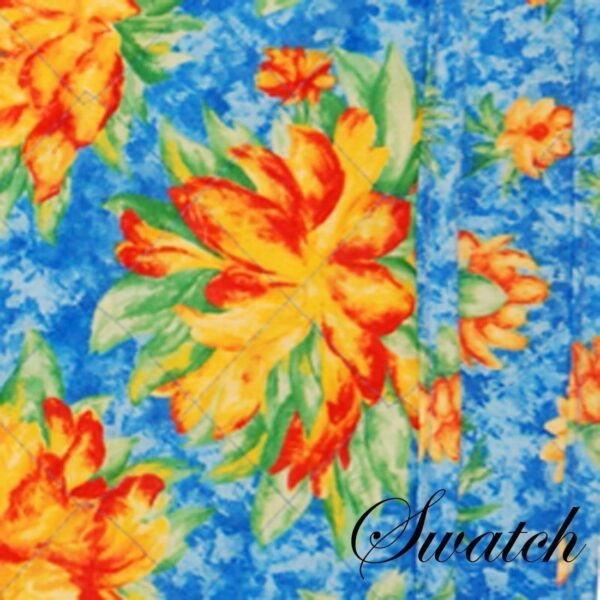 Sweet Pea Linens - Yellow-Blue Tropical Print Floral Print 54 inch Table Runner (SKU#: R-1020-M6) - Swatch