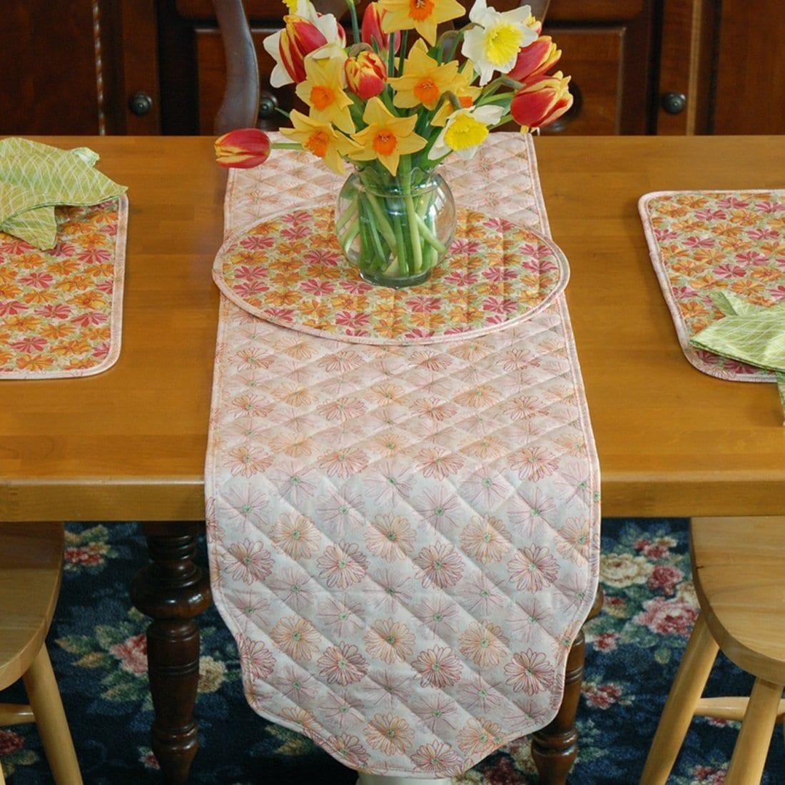 Sweet Pea Linens - Pink & Orange Floral Print 54 inch Table Runner (SKU#: R-1020-M7) - Table Setting