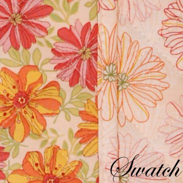 Sweet Pea Linens - Pink & Orange Floral Print 54 inch Table Runner (SKU#: R-1020-M7) - Swatch