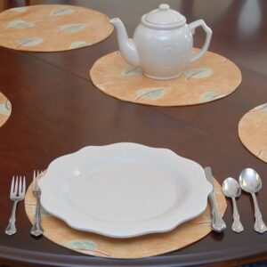 Sweet Pea Linens - Gold with Leaves Wipe Clean Charger-Center Round Placemat (SKU#: R-1015-N4) - Table Setting