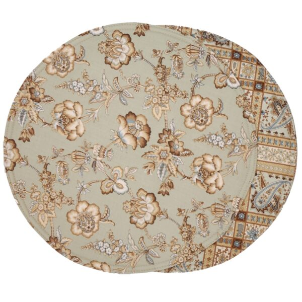 Sweet Pea Linens - Soft Green Jacobean Floral Print Charger-Center Round Placemat (SKU#: R-1015-P3) - Product Image