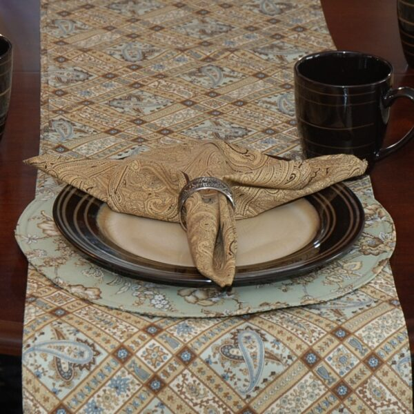 Sweet Pea Linens - Soft Green Jacobean Floral Print Charger-Center Round Placemat (SKU#: R-1015-P3) - Table Setting