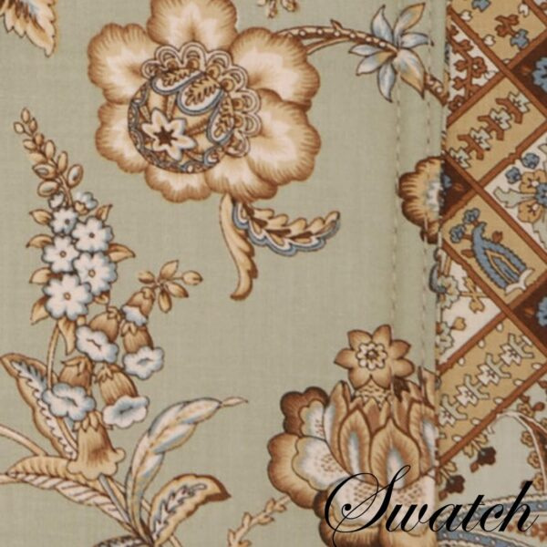 Sweet Pea Linens - Soft Green Jacobean Floral Print Charger-Center Round Placemat (SKU#: R-1015-P3) - Swatch