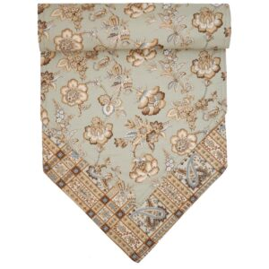 Sweet Pea Linens - Soft Green Jacobean Floral Print 54 inch Table Runner (SKU#: R-1020-P3) - Product Image