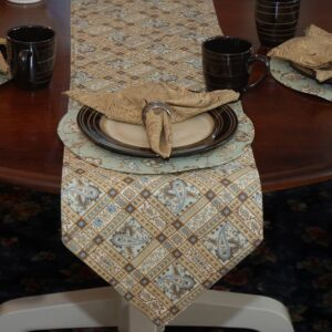 Sweet Pea Linens - Soft Green Jacobean Floral Print 54 inch Table Runner (SKU#: R-1020-P3) - Table Setting