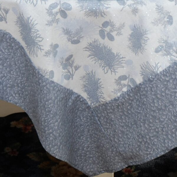 Sweet Pea Linens - Silver & Grey Pinecones 54 inch Square Table Cloth (SKU#: R-1008-P4) - Product Image