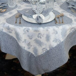 Sweet Pea Linens - Silver & Grey Pinecones 54 inch Square Table Cloth (SKU#: R-1008-P4) - Table Setting