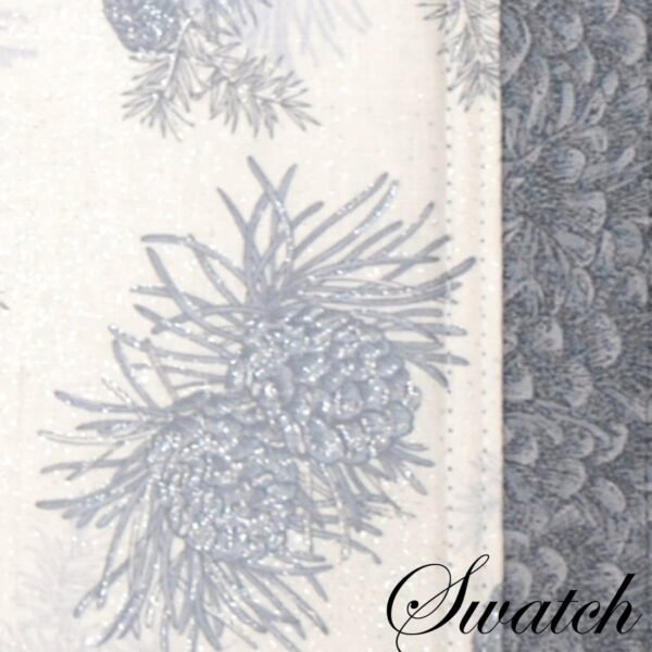 Sweet Pea Linens - Silver & Grey Pinecones 54 inch Square Table Cloth (SKU#: R-1008-P4) - Swatch