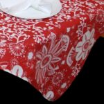 Sweet Pea Linens - Red Floral & Vine Print 54 inch Square Table Cloth (SKU#: R-1008-P5) - Product Image