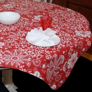 Sweet Pea Linens - Red Floral & Vine Print 54 inch Square Table Cloth (SKU#: R-1008-P5) - Table Setting