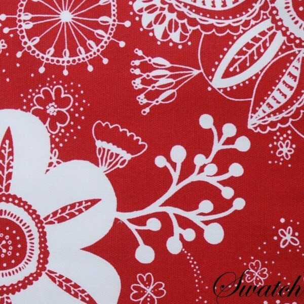 Sweet Pea Linens - Red Floral & Vine Print 54 inch Square Table Cloth (SKU#: R-1008-P5) - Swatch