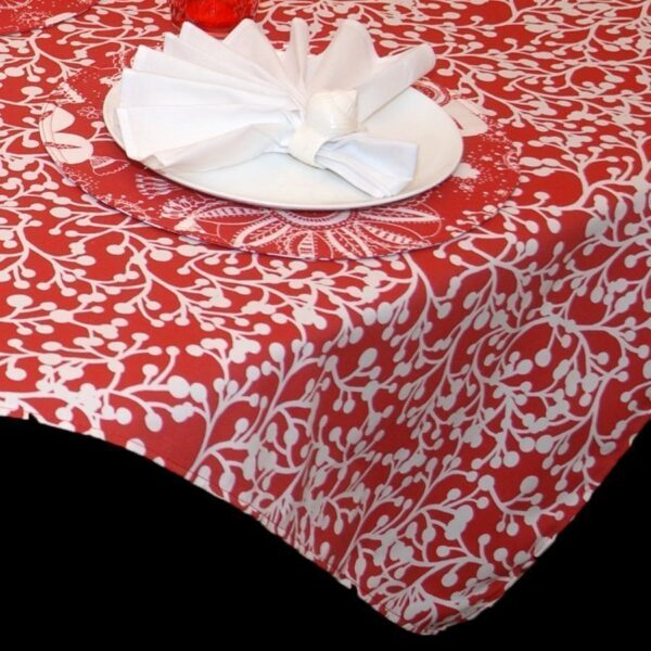 Sweet Pea Linens - Red Vine Print 54 inch Square Table Cloth (SKU#: R-1008-P50) - Product Image