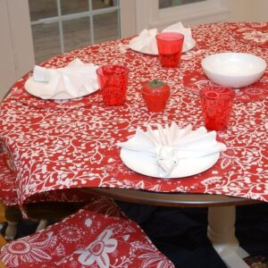 Sweet Pea Linens - Red Vine Print 54 inch Square Table Cloth (SKU#: R-1008-P50) - Table Setting