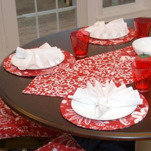 Sweet Pea Linens - Red Floral & Vine Print 54 inch Table Runner (SKU#: R-1020-P5) - Table Setting