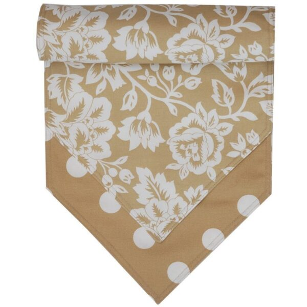 Sweet Pea Linens - Tan Floral Print & Dot 54 inch Table Runner (SKU#: R-1020-P6) - Product Image