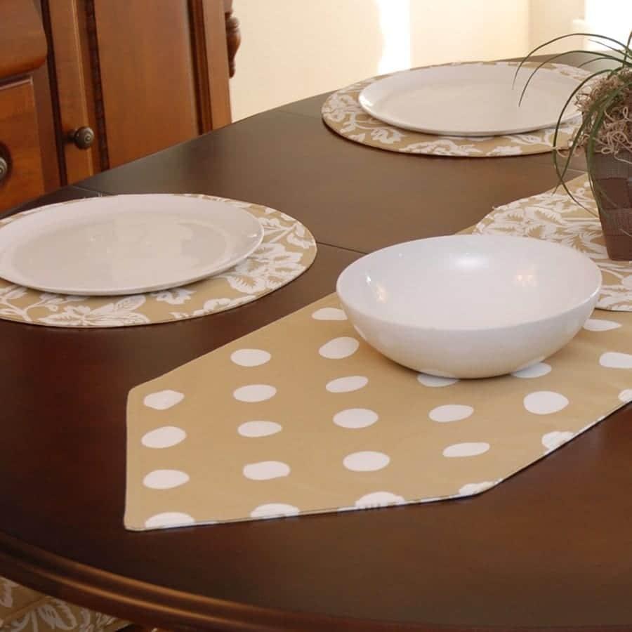 Sweet Pea Linens - Tan Floral Print & Dot 54 inch Table Runner (SKU#: R-1020-P6) - Table Setting