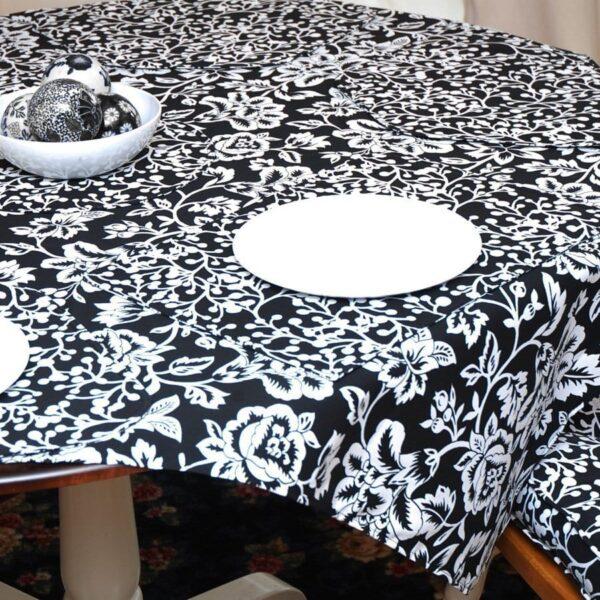 Sweet Pea Linens - Black Floral & Vine Print 54 inch Square Table Cloth (SKU#: R-1008-P7) - Table Setting
