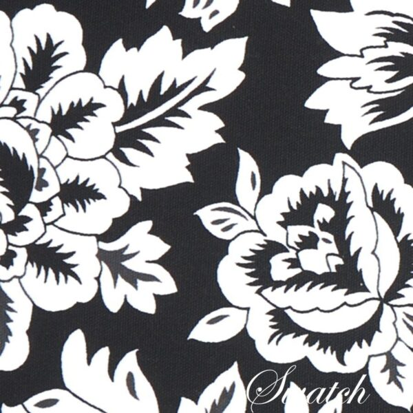 Sweet Pea Linens - Black Floral & Vine Print 54 inch Square Table Cloth (SKU#: R-1008-P7) - Swatch
