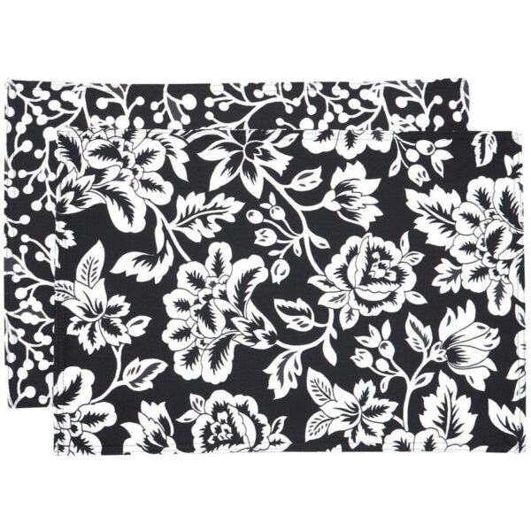 Sweet Pea Linens - Black Floral & Vine Print Rectangle Placemats - Set of Two (SKU#: RS2-1002-P7) - Product Image