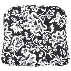 Sweet Pea Linens - Black Floral Print Gripper Bottom Chair Cushion Pads - Set of Two (SKU#: RS2-1016-P7) - Product Image