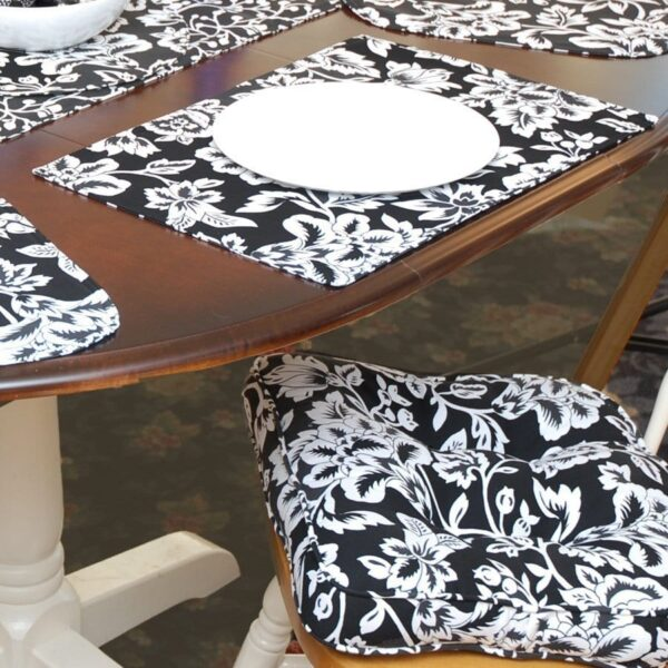 Sweet Pea Linens - Black Floral Print Gripper Bottom Chair Cushion Pads - Set of Two (SKU#: RS2-1016-P7) - Table Setting