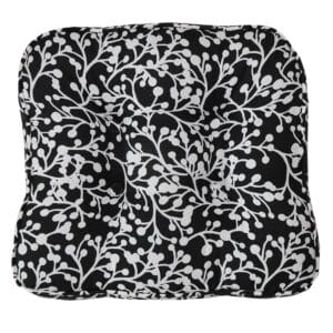 Sweet Pea Linens - Black Vine Print Gripper Bottom Chair Cushion Pads - Set of Two (SKU#: RS2-1016-P70) - Product Image