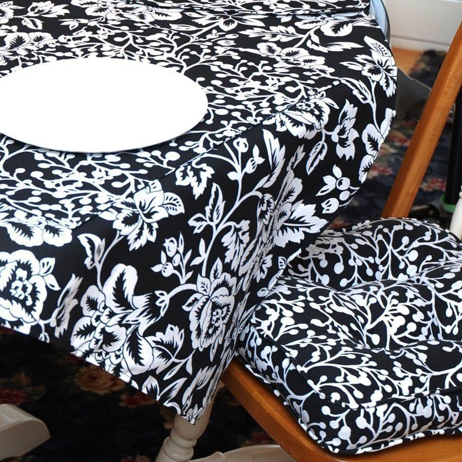 Sweet Pea Linens - Black Vine Print Gripper Bottom Chair Cushion Pads - Set of Two (SKU#: RS2-1016-P70) - Table Setting