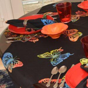 Sweet Pea Linens - Black Butterfly Batik 42 inch Square Table Cloth (SKU#: R-1008-Q26) - Table Setting
