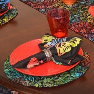 Sweet Pea Linens - Black Butterfly Batik Cloth Napkin (SKU#: R-1010-Q26) - Table Setting