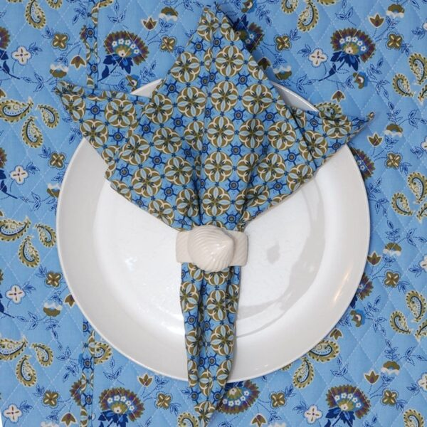 Sweet Pea Linens - Blue & Green Geometric Paisley Cloth Napkin (SKU#: R-1010-Q4) - Product Image