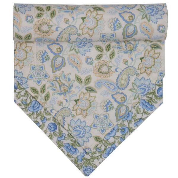 Sweet Pea Linens - Blue & Green Paisley Floral Print 54 inch Table Runner (SKU#: R-1020-Q5) - Product Image