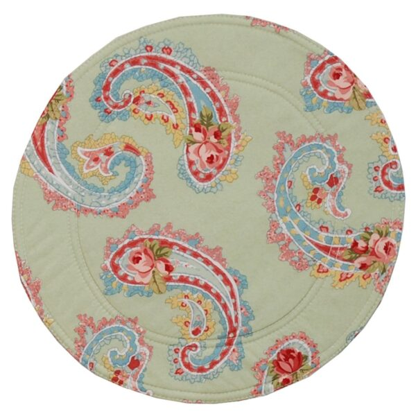 Sweet Pea Linens - Mint Green Paisley Charger-Center Round Placemat (SKU#: R-1015-Q7) - Product Image